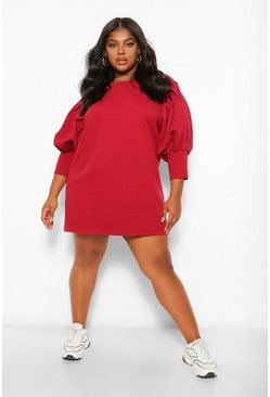 Berry Plus Puff Sleeved Sweat Dress