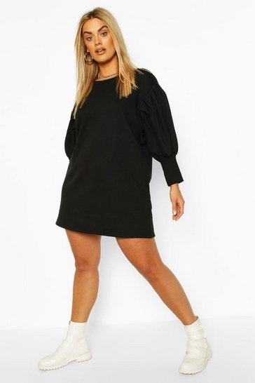 Black Plus Puff Sleeved Sweat Dress