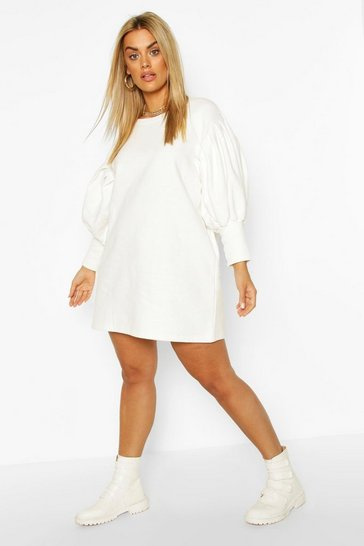 Ecru white Plus Puff Sleeved Sweat Dress