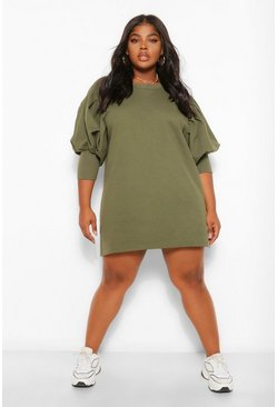 Khaki Plus Puff Sleeved Sweat Dress