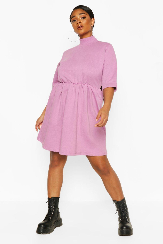 Plus High Neck Sweat Smock Dress 6