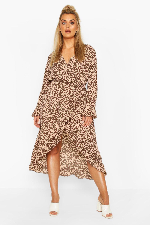 Plus Leopard Ruffle Wrap Midi Dress 6