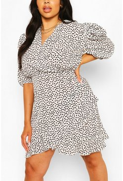 White Plus Daisy Floral Wrap Dress