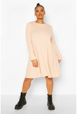 Blush pink Plus Jumbo Rib Swing Dress