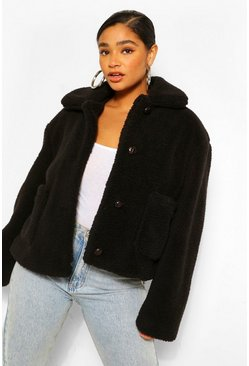 Black Plus Pocket Detail Teddy Faux Fur Jacket