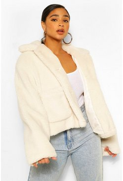 Cream white Plus Pocket Detail Teddy Faux Fur Jacket
