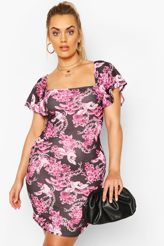 Plus Oriental Print Frill Sleeve Mini Dress 7