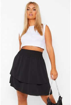 Black Plus Shirred Woven Double Layer Skater Skirt