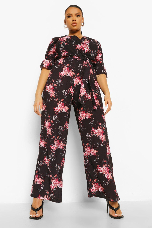 Plus Wrap Belted Dark Floral Wide Leg Jumpsuit 7