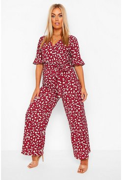 Berry Plus Smudge Print Wrap Belted Wide Leg Jumpsuit