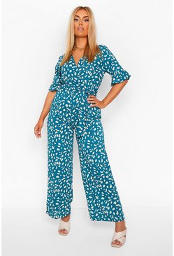 Teal green Plus Smudge Print Wrap Belted Wide Leg Jumpsuit