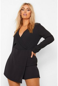 Black Plus Tuxedo Wrap Belted Playsuit