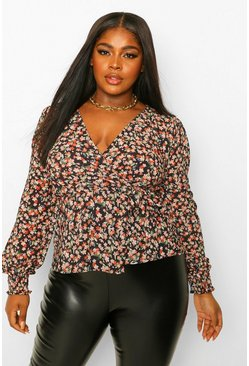 Black Plus Floral Wrap Tie Blouse
