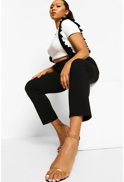 Black Plus Ruffle Pinafore Trouser