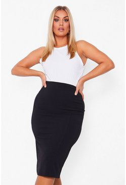Black Plus Super Stretch Midi Rok