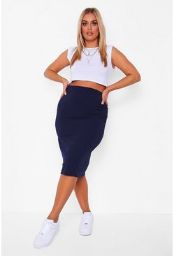 Navy Plus Super Stretch Midi Skirt