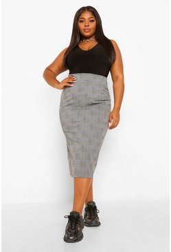 Black Plus Check Super Stretch Midi Skirt