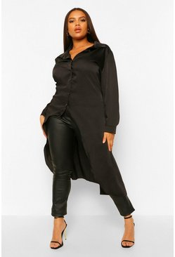 Black Plus Satin Maxi Dip Hem Shirt
