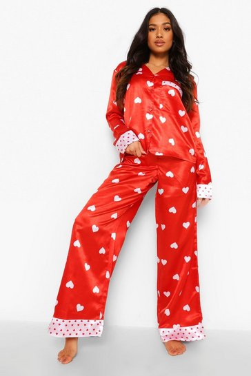 Red Petite Heart Print Wide Leg Pj Trouser Set