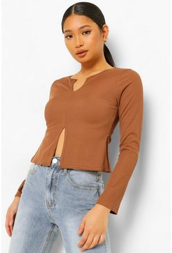 Chocolate Petite Split Detail Rib Top