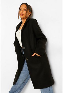 Black Petite Longline Wool Look Coat