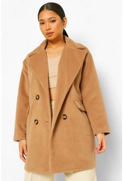 Camel beige Petite Double Breasted Wool Look Coat