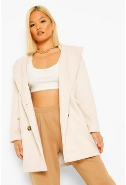 Ivory white Petite Double Breasted Wool Look Coat