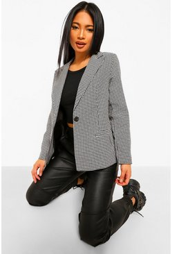 Black Petite Geweven Dogtooth Blazer