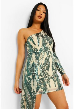 Emerald green Petite Sequin One Shoulder Drape Mini Dress