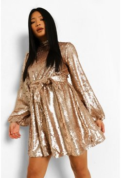 Gold metallic Petite Sequin High Neck Skater Dress