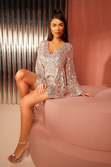 Silver Petite Sequin Plunge Flair Sleeve Skater Dress