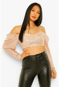 Rose gold metallic Petite Sequin Corset Style Crop Top