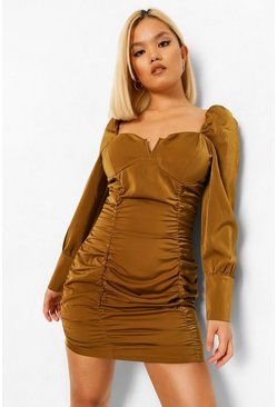 Bronze metallic Petite Satin Corset Style Ruched Mini Dress