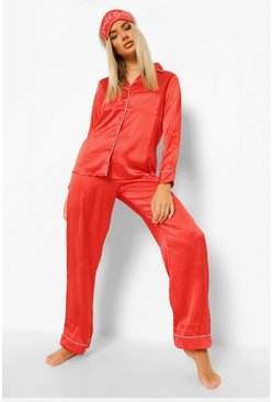 Red Petite Satin 3 Piece Trouser and Eye Mask PJ Set
