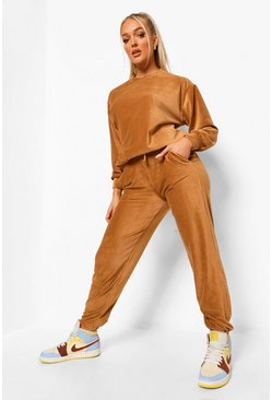 Chocolate brown Petite Rib Velour Joggers