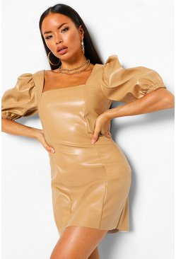 Camel Petite Square Neck PU Puff Sleeve Mini Dress