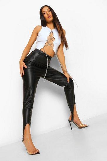 Black Petite Leather Look Stirrup Leggings