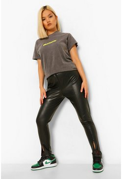 Black Petite Zip Split Front Ankle Leather Look Trousers