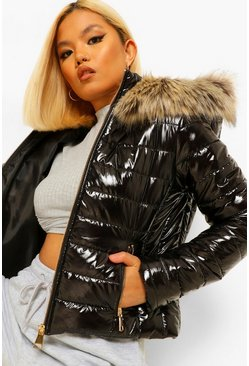 Black Petite Faux Fur Trim High Shine Fitted Puffer