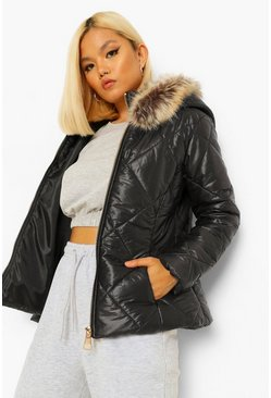 Black Petite Faux Fur Trim Fitted Puffer Jacket