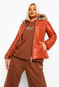 Rust orange Petite Faux Fur Trim Fitted Puffer Jacket