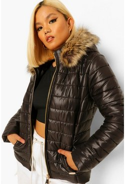 Black Petite Quilt Detail Faux Fur Trim Puffer