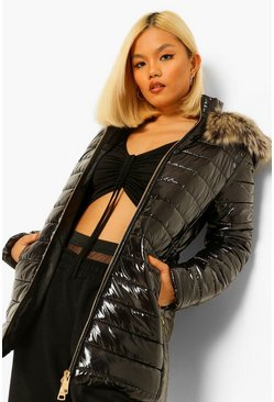 Black Petite Longline High Shine Faux Fur Trim Parka