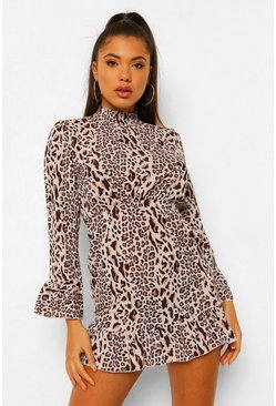Brown Petite Leopard Frill Hem Smock Dress