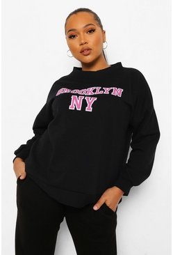 Black Plus Brooklyn Slogan Sweat