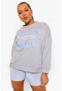 Grey marl grey Plus 'Rollin With The Homies' Oversized Sweat