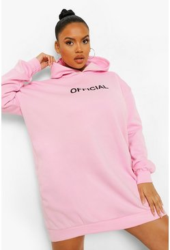 Pink rosa Plus - Official Oversize sweatshirt med slogan