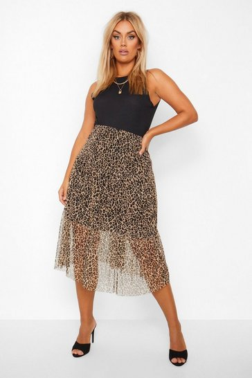 Brown Plus Leopard Mesh Tiered Midi Skirt