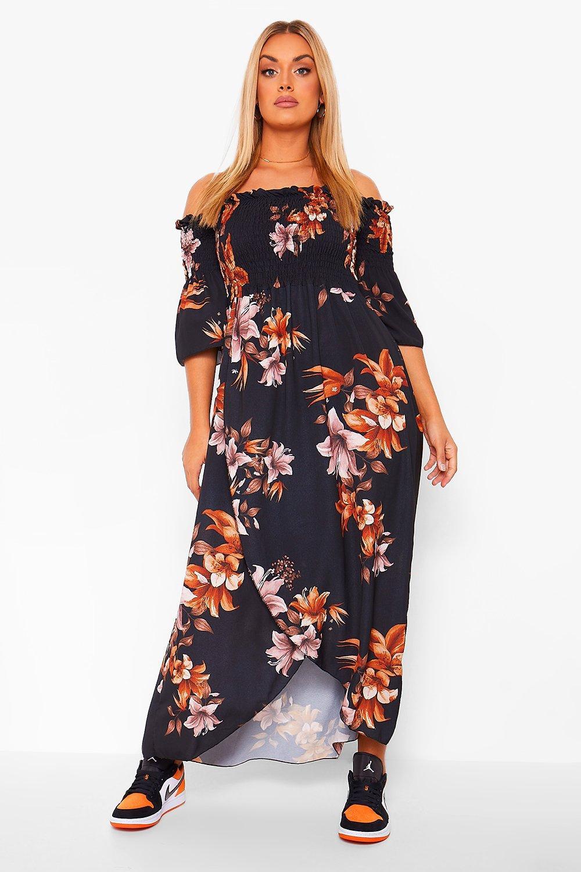 Plus Autumn Floral Bardot Maxi Dress 15