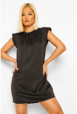 Black Petite Satin Shoulder Pad Mini Dress